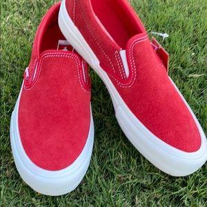 Red suede Vans